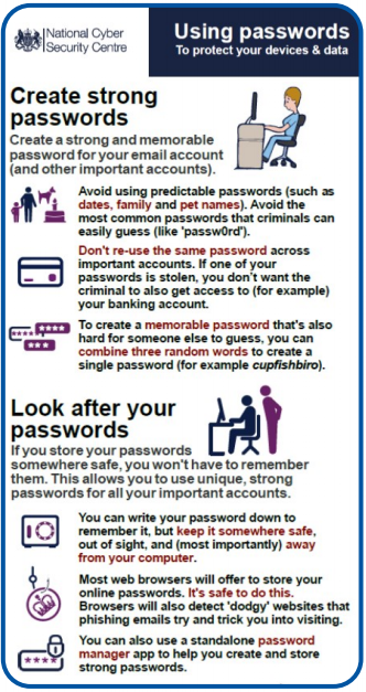 Create a strong and memorable password for your email account (and other important accounts).   Avoid using predictable passwords (such as dates, family and pet names). Don't re-use the same password across important accounts. To create a memorable password that's also hard for someone else to guess, combine three random words (for example cupfishbiro).  If you store your passwords somewhere safe, you won't have to remember them. This allows you to use unique strong passwords for all yoru important accounts. If you write your password down, keep it somewhere safe and away from your computer. Most web browsers will offer to store your passwords. It's safe to do this. You can also use a standalone password manager app.